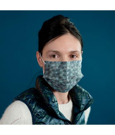 Masque Fantask en tissus lavable made in france - Coloris Fougère portée