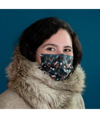 Fantask masque tissus lavable made in france - Coloris Blizzard portée